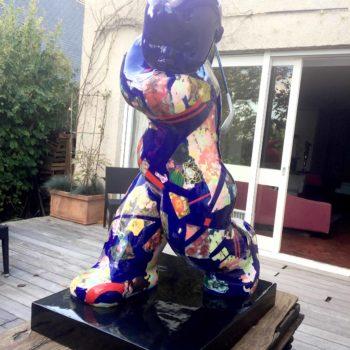 françoise abraham-sculpture-résine-big-baby-swing-blue