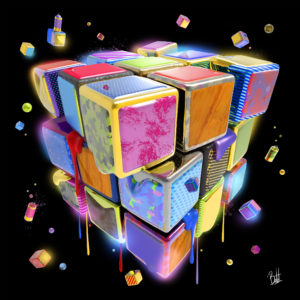 Boutet-artiste-boutet-studio-tableau-rubik's cube-sculpture-digitale