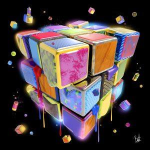 boutet-tableau-sculpture digitale-rubik's-cube