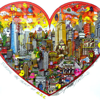 CHARLES FAZZINO Invading the heart of NYC 54x61cm