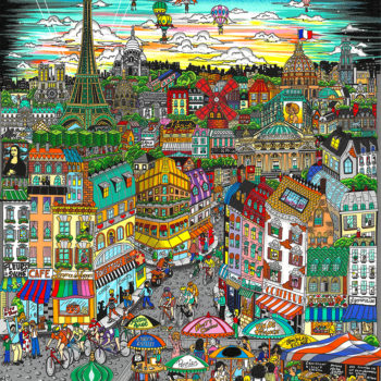CHARLES FAZZINO La magnificence de Paris 93x74cm