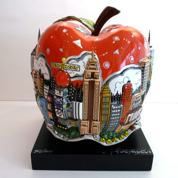 charles fazzino red apple pomme porcelaine
