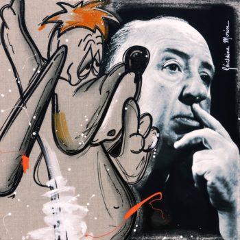 morin-géraldine-artiste-peinture-toile-pop-art-Alfred-Hitchcock