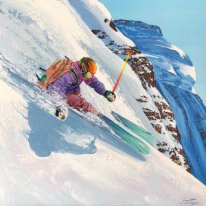Steve-tracy-peinture-toile-ski-snow-montagne