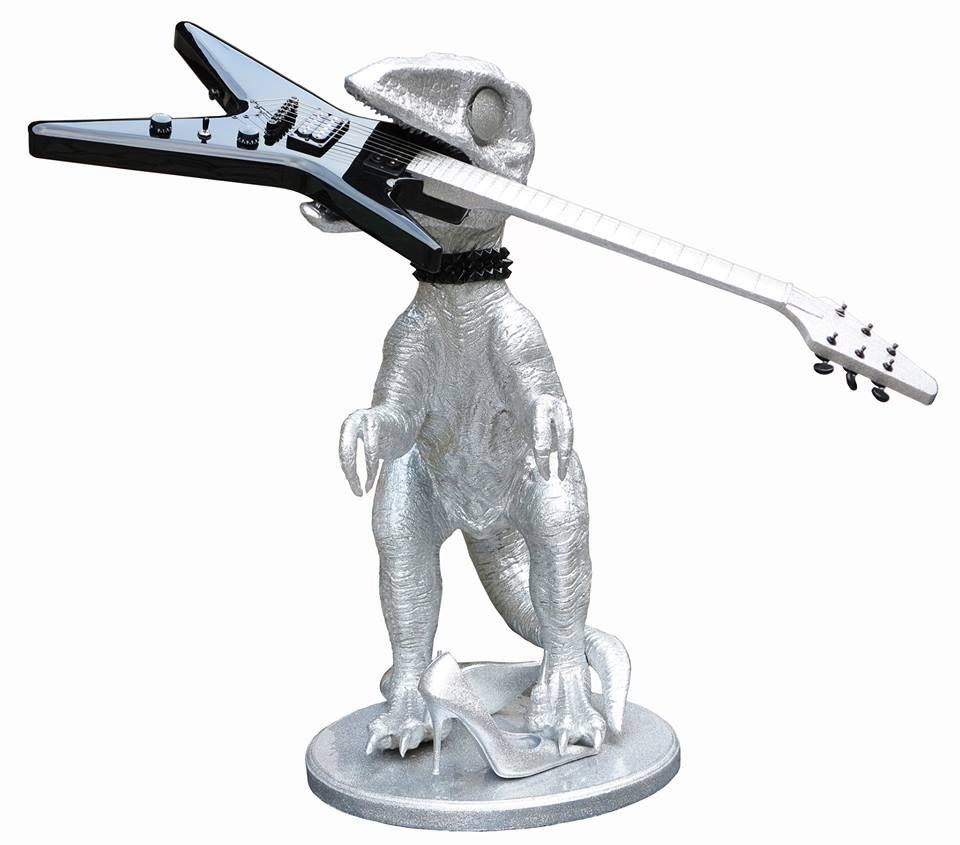 mr-live-t-rex-sculpture-résine-guitare-rock