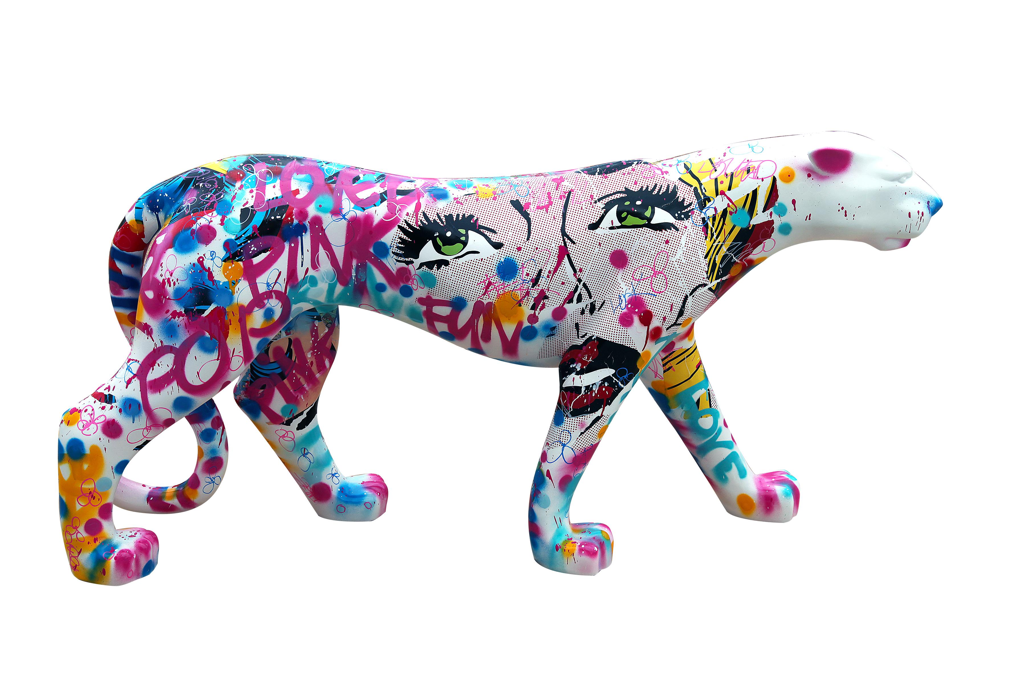 novarino-panthere-pop-art-technique-mixte-sculpture-résine